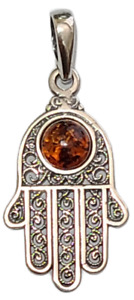 Hamsa Hand Pendant 925 Sterling Silver Brown Baltic Amber Filigree Design  #41