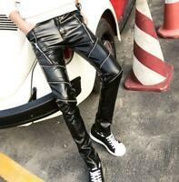 stylish men's PU leather motorcycle trousers slim fit punk skinny casual pants