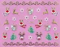 Christmas GOLD White Snowflakes Xmas Tree Reindeer 3D Nail Art Sticker Decal