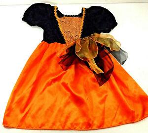 Disguise Halloween Girls Black Orange Dress Costume Pretend Play  Small 4 6