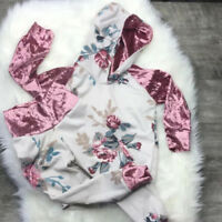2PCS Toddler Kids Baby Girl Infant Floral Clothes Hoodies Tops Pants Outfits Set