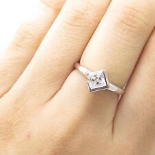 925 Sterling Silver Square Cut C Z Rhombus Ring Size 6