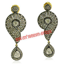 Diamond Silver Vintage Earrings Free Shipping Hand-Made 3.90ct Polki & Rose Cut