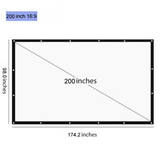 "200"" 16:9 Projection Screen Curtains Film for Home Theater Outdoor HD Projectors"