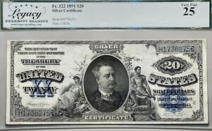 1891 $20 Silver Certificate Large Size Manning Note Legacy VF 25 FR 322