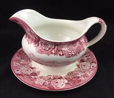 Wood & Sons ENGLISH SCENERY Pink Gravy Boat w/ Attached Underplate - Old Mark