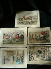 Small Antique John Leech Hunting Prints & Other - Probably Book Plates