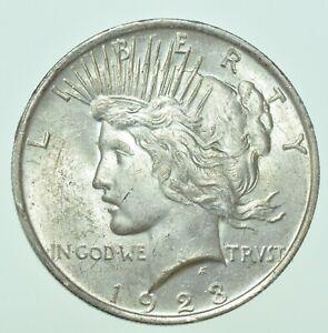 USA, UNITED STATES, PEACE DOLLAR, $1, 1923 SILVER COIN BU