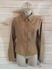 Women's SO Tan Button Down Polyester Long Sleeve Jacket Size Medium