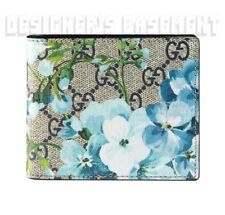 GUCCI Mens blue BLOOMS GG Supreme Canvas blue Leather Bifold wallet NIB Authentc