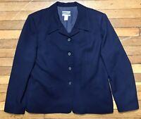 Vintage Pendleton Blue 100% Virgin Wool Blazer Jacket Womens Size 16 Made In USA