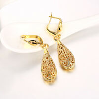 Rose-Gold Plated Open Filigree Teardrop 46mm French Clip Pierced Dangle Earrings