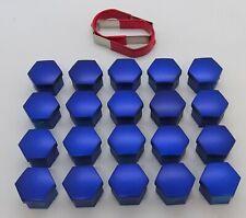 AUDI A3 A4 A5 A6 A7 A8 Q3 Q5 BLUE WHEEL NUT BOLT COVERS CAPS 17mm x 20