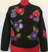 SUSAN BRISTOL HAND EMBROIDERED FLOWERS BLACK BOILED WOOL CARDIGAN SWEATER SZ PM