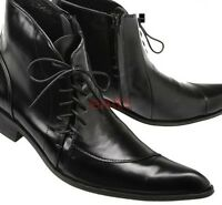 British Mens Leather Pointy Toe Lace Up Ankle Boots Casual Dress Formal Shoes SZ