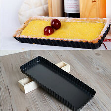 Rectangle Fluted Pie Tart Pan Mold Nonstick Removable Bottom Tray Baking Tool