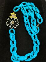 Vintage Gold Tone Frog Turquoise Acrylic Large Statement Chain Necklace