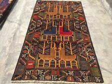 Semi Antique Pictorial Tribal Wall hanging Rug,Beautiful Pictorial Nomad Carpet,