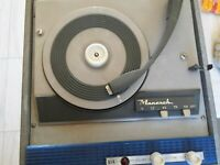 Vintage Monarch BSR Portable 4 Speed Turntable With Speaker Record Player 1960s