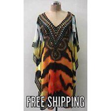 Caroline Morgan Kaftan Dress One Size Sheer Tiger Flowing Blouse Resort Wear