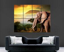 Cartel De Elefante Africano montaña Safari Sun Pared Gigante De Impresión Arte Imagen enorme
