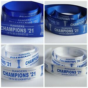 Rangers Champions 21 Satin Ribbon 25mm or 38mm
