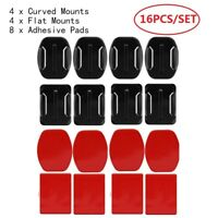 16pcs for GoPro 4 Flats & 4 Curved Mounts & 8 Adhesive Sticky Sticker Pads NP2