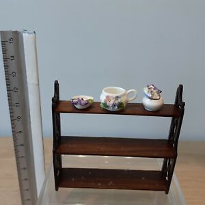 """441 Dollhouse miniature 1:12 artisan Lot of 3 porcelains signed by AD, 7/8"""" long"""