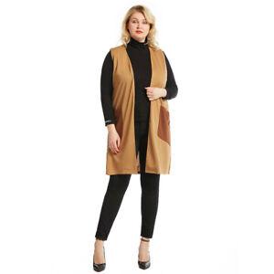 Sleeveless Womens Open Front Long Vest Cardigan Coat Pockets Casual Jacket Tops