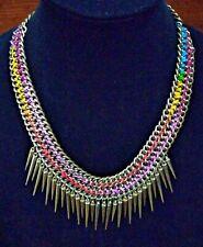 "Vintage Antique Gold Tone Multi Color Spike Necklace 22-24"""