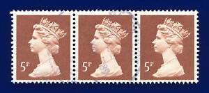 1988 SG X935 5p Dull Red Brown Strip of 3 Fine Used dgcu