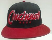 Cincinnati  Reds Black Red New Era 59Fifty Flat Bill Hat Cap Authentic MLB