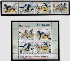 UGANDA Sc 2021-22 NH STRIP+SOUVENIR SHEET of 2012 - WWF
