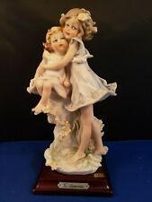 """G.Armani Capodimonte Italy Hugging Sisters Figurine with Wood Base 8""""h"""