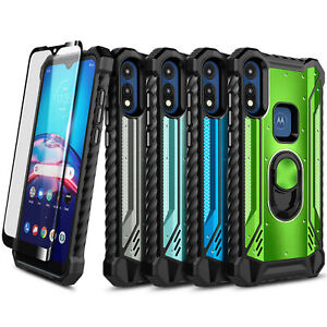 For Motorola Moto E 2020 Phone Case Armor Ring Stand Cover with Tempered Glass
