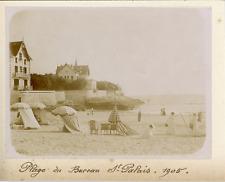 France, Plage du Bureau à Saint-Palais-sur-Mer 1905, Vintage citrate print Vinta