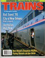 Trains Magazine Railroading Feb 1998 Amtrak Australian Rail Travel  New Orleans