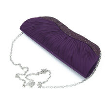 Elegant Pleated Satin & Crystal Hard Clutch Evening Bag - Diff Colors Avail
