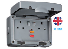 Double RCD Switched Socket IP66 13A DP Weatherproof Outdoor 2G Socket IPRCD