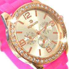 Womens Girls Crystal Analog Pink & Gold With Rubber Band Fashion Sports Watch
