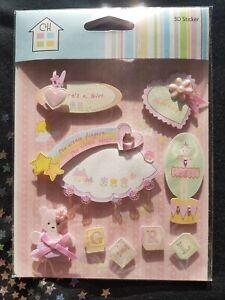 Baby Girl Craft 3D Stickers Pink Rainbow Heart Teddy Flower Ballerina (D52)