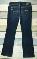 American Eagle Womens Slim Boot STRETCH Jeans Size 4 (29X32) DARK WASH WHISKERED
