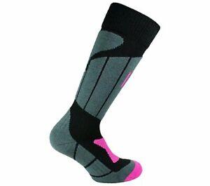 Norfolk 1-Pk Midweight Merino Wool Climayarn Ladies Ski Socks Black/Grey (8-10)