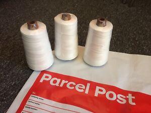 WHITE Bag Closing Thread - 3 x 150g cones, 20/6 - incl. Reg Post - Aussie Owned