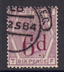QV 1883 Spec K8B SG162h 6d on 6d Right dot in two halves Plate 18 used