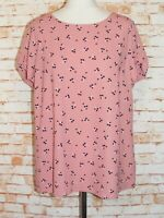M&S floral print blouse plus size 18 short sleeve round neck loose dusky pink