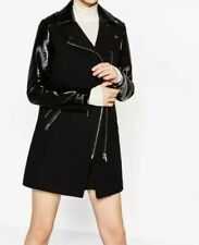 ZARA BLACK COAT WITH PATENT LEATHER SLEEVES, SIZE M- BNWT
