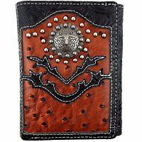 Premium Western Cowboy Mens Wallet Black  Brown Leather Longhorn Carved Design