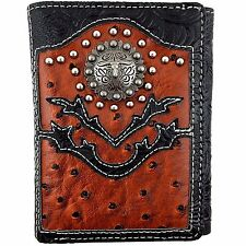 Premium Western Cowboy Mens Wallet Black  Brown Leather Longhorn Carved Design