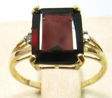 SYJEWELRYEMPIRE 10KT YELLOW GOLD OCTAGON GARNET & DIAMOND RING SIZE 7    R917